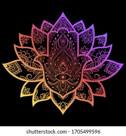 """Colorful Hamsa hand drawn symbol with lotus flower. Decorative pattern in oriental style for interior decoration. The ancient sign of """"Hand of Fatima"""". Rainbow design on black background."""