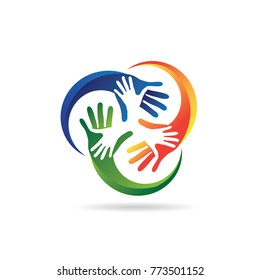 Colorful Hand Charity Logo Template Symbol Sign Icon