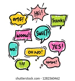 Colorful hand draw balloon speech bubbles set with short messages vector illustration - Vector