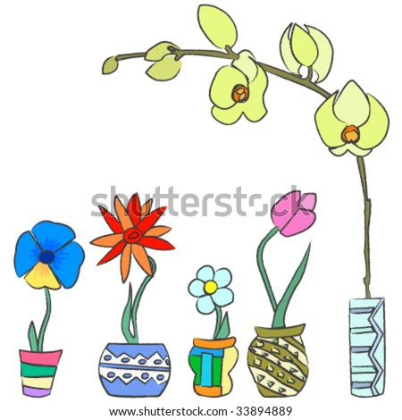 Colorful hand draw spring flowers ceramic stock vector royalty free colorful hand draw spring flowers in ceramic containers mightylinksfo