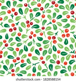 Colorful Hand Drawn Abstract Christmas Mistletoe Foliage Horizontal Vector Seamless Pattern . Modern Winter Holiday Print in Bright Tones. Perfect for Invitations, Gift Paper, Stationery