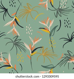 Colorful Hand drawn art illustration  Artistic abstract watercolor brush seamless pattern sketch tropical bird of paradise palm leaves, texture, splatter, brush strokes on green mint background color