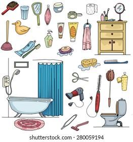 Colorful Hand drawn Bathroom, clean, hygiene set, vector illustration