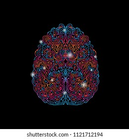 colorful hand drawn brain on black background