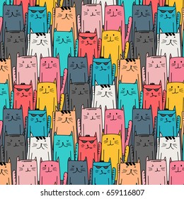 Colorful hand drawn cats vector pattern. Doodle art.