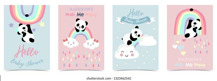 Farbige, handgezeichnete, süße Karte mit Regenbogen, Herz, Wolke, Panda und Regen.Regenbogen machen mich glücklich