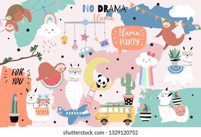 Colorful hand drawn cute card with llama, rainbow,unicorn,sloth,cloud,van,airplane.No drama llama