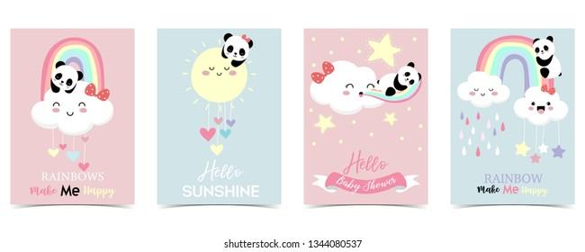 Colorful hand drawn cute card with rainbow,heart,cloud,panda and rain.Rainbow make me happy