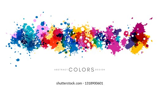 Colorful hand drawn decorative element from splashes. Abstract creative design from multicolored paint.