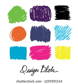 Colorful hand drawn design blobs in graphic design friendly shapes and doodles, circles squares and rectangle background shapes in blue pink yellow orange green purple and black