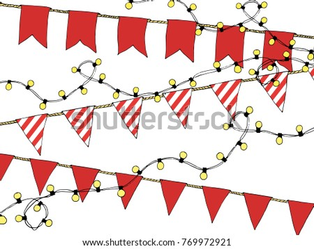 Colorful Hand Drawn Doodle Bunting Banners Stock Vector Royalty