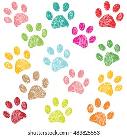 Colorful hand drawn doodle paw print vector illustration background