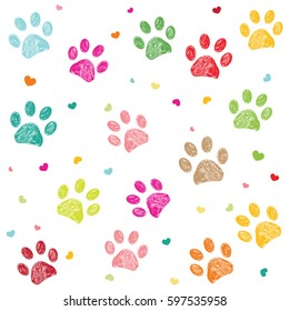 Colorful hand drawn doodle paw print with hearts vector background
