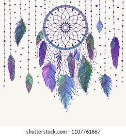Colorful hand drawn dreamcatcher with floral details and feathers, vector illustration, can be used for boho art design invitation, postcard.