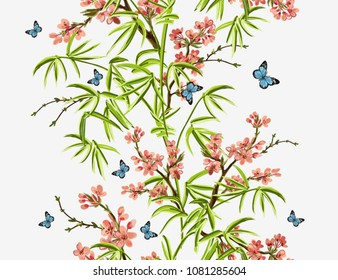 Colorful  hand drawn floral seamless pattern with bamboo, sakura, tropical  japanese flowers, butterflies. Vector vintage traditional folk fashion illustration ornament on white  background.