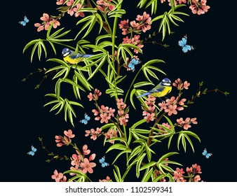 Colorful  hand drawn floral seamless pattern with bamboo, sakura, tropical flowers,  japanese birds, butterflies. Vector vintage traditional folk fashion illustration ornament on black  background.