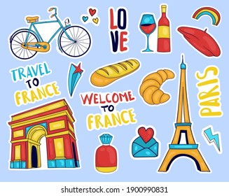 Colorful Hand drawn france element stickers collection
