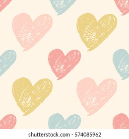 Colorful hand drawn heart grunge cute seamless pattern. Vector illustration.