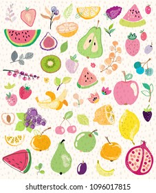 Colorful Hand drawn illustration set of fruits and berries for beautiful design
