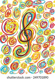 colorful hand drawn musical background with a treble clef symbol