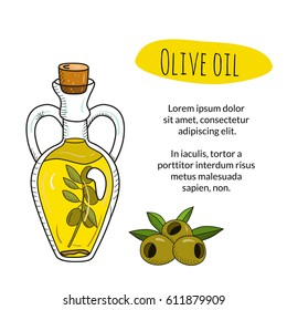 Colorful hand drawn olive oil bottle with sample text. Isolated cute decanter with healthy cooking oil and olives. Sketchy cartoon illustration for restaurant, organic shop banner, flyer, coupon.