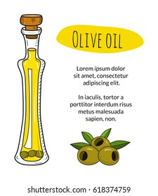 Colorful hand drawn olive oil bottle with sample text. Isolated cute bottle with healthy cooking oil and olives. Sketchy cartoon illustration for restaurant, organic shop banner, flyer, coupon.