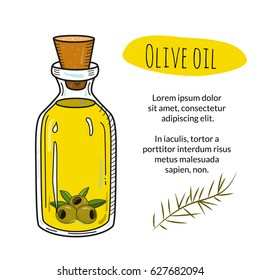 Colorful hand drawn olive oil bottle with sample text. Isolated cute vial with healthy cooking oil and olives. Sketchy cartoon illustration for restaurant, organic shop banner, flyer, coupon.