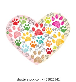 Colorful hand drawn paw print made of hearts vector illustration