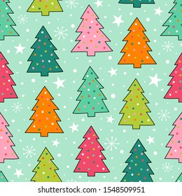 Colorful hand drawn pine tree seamless pattern with snow and star background.