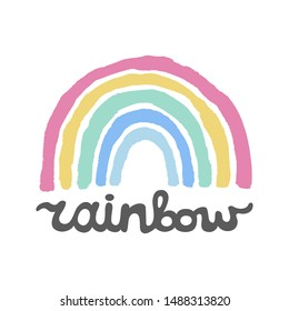 Colorful hand drawn Rainbow lettering.Freehand simple drawing.Quote design for prints on creative card, mobile wallpaper,case,t-shirt,bag or poster.Vector