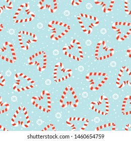 Colorful Hand Drawn Red and White Holiday Christmas and New Year Candy Cane Hearts and White Snowflakes on Ice Blue Background Vector Seamless Pattern. Winter Holiday Print. Festive Paper