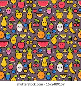 Colorful hand drawn seamless pattern with summer tropical fruit and berries. Cute background. Healthy food. Kawaii style. Vector illustration