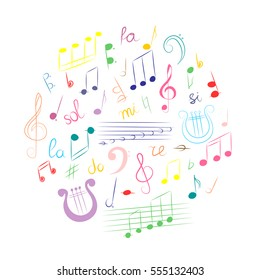 Colorful Hand Drawn Set of  Music Symbols.  Doodle Treble Clef, Bass Clef, Notes and Lyre Arranged in a Circle. Vector Illustration.