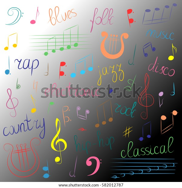 Colorful Hand Drawn Set of Music Symbols and Styles.Doodle Treble Clef, Bass Clef, Notes and Lyre.Lettering of Blues, Electronic, Jazz, Rap, Disco, Folk, Country, Rock, Classical. Vector Illustration.