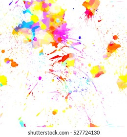 Colorful hand drawn splatter background texture. Vector bright seamless illustration. Blots. Watercolor effect