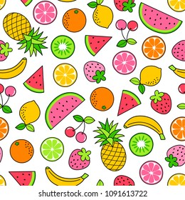 Colorful hand drawn tropical fruits seamless pattern on white background.