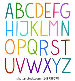 Colorful hand drawn vector full alphabet. The vector Roman alphabet.
