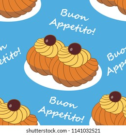 Colorful hand drawn vector illustration of delicious home made Zeppole pastries. Endless pattern.