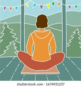 Colorful hand drawn vector illustration with texture in line art style. Woman is practicing meditation sitting in Siddhasana on a yoga mat on the terrace of mountain hut.
