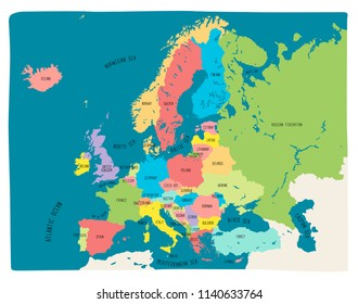 Colorful hand drawn vector map of Europe. Doodle style