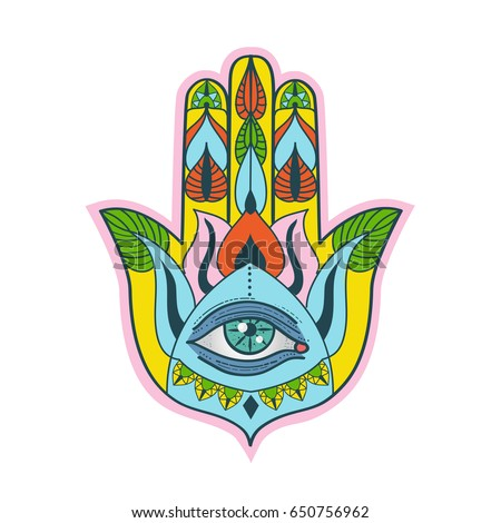 4460cd07 Colorful hand of Fatima. Hamsa hand talisman. Traditional Middle Eastern  lucky charm. Vector
