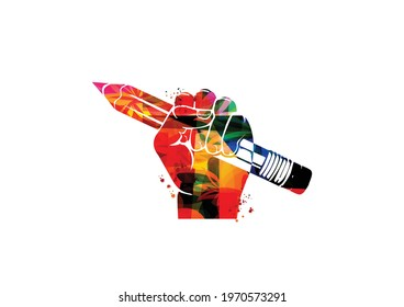 Colorful hand holding pencil isolated for creative writing, idea and inspiration, education and learning concept. Blogging and copywriting vector illustration