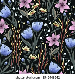 colorful hand painted shining flowers. vector floral seamless pattern with blooming wild flowers on a black backround