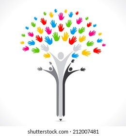 colorful hand pencil tree support or united concept vector