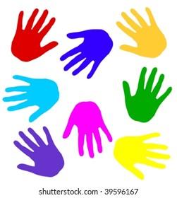 colorful hand print