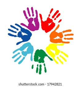 Colorful hand prints isolated on white. Vector silhouette
