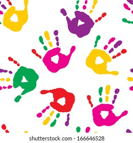 Colorful hand prints on a white background