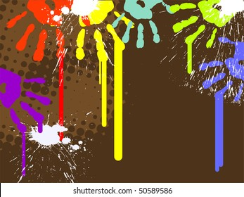 colorful hand prints - vector