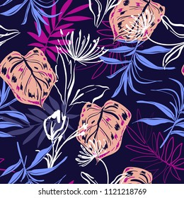 Colorful Hand sketch and drawing tropical flowers and leaves seamless pattern in  vector for fashion fabric and all prints on navy blue background color
