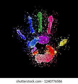 Colorful Handprint of Dots. Rainbow Colors Dots Shape of a Hand and Fingers on Black Background